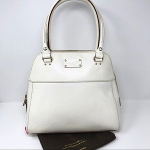Kate Spade Cream Structured Shoulder Bag Zip Top